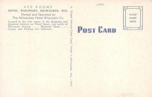 Milwaukee Wisconsin~Hotel Wisconsin on Third Street in Downtown~1940s Postcard