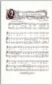 Vintage SONG SHEET Postcard Music Tell Me a Beautiful Story by Chas. K. Harris