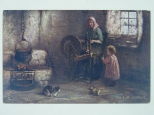 Scottish Life THE BUSY GUIDWIFE & Spinning Wheel c1911 Postcard by Raphael Tuck