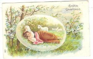 Lady Laying Down On The Grass, Sheep, Easter Greetings, PU-1908