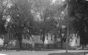 Holstein Iowa~Methodist Episcopal ME Church~Shade Trees~1927 Real Photo~RPPC