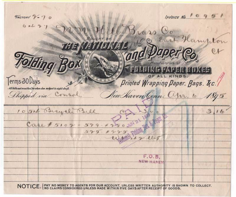 1895-9 Billhead, THE NATIONAL FOLDING BOX AND PAPER CO., ...