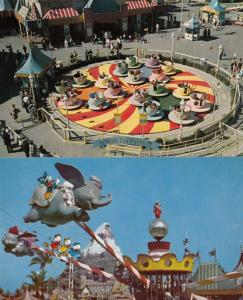 Mad Hatters Tea Party Flying Dumbo USA Disneyland 2x Theme Park Ride Postcard s
