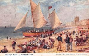 Hastings Beach a summer scene 1908 Postcard