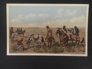 Mint NM USA Postcard Native American Indian Watching First Santa Fe Train PPC