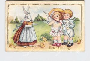 PPC POSTCARD EASTER WHITNEY ANTHROPOMORPHIC RABBIT WITH CHILDREN CHICKS