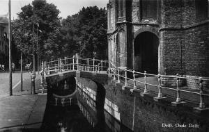 Netherlands Delft Oude Delft Street Promenade Bridges Postcard