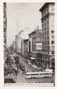 California Los Angeles Broadway Looking North From 7th Trolleys and Buses Rea...