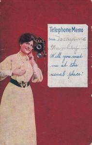 Happy woman wearing long string of pearls waiting by her telephone for a call...
