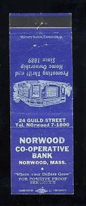 Norwood Co-Operative Bank Matchcover, Norwood, Mass/MA, 1...