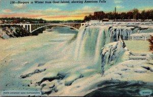 New York Niagara Falls In Winter From Goat Island Showing American Falls Curt...