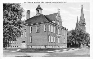 Marshfield Wisconsin~St John's Parochial School & Catholic Church~1940 B&W Linen