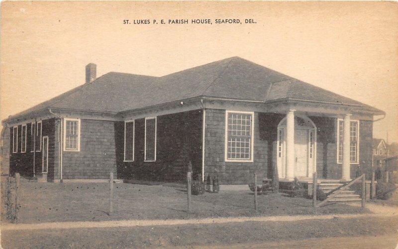 H76/ Seaford Delaware Postcard c1920s St Lukes P.E. Parish House  110