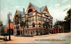 Grand Rapids Michigan~Police Headquarters~Brownstone on Corner~1909 Rotograph PC
