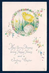 Flowers Happy Hours Chick w/egg Joyous Easter unused c1910's