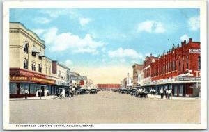 Abilene Texas Postcard PINE STREET Looking South Downtown Scene Curteich 1930s