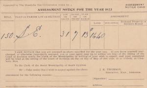 1923 Tax notice postcard , SOUTH CYPRESS , Manitoba , Canada
