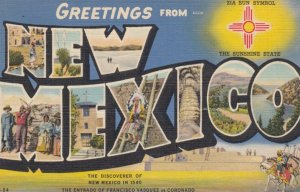 Large Letter Greetings, NEW MEXICO, 1930-40s; Zia Sun Symbol, Sunshine State