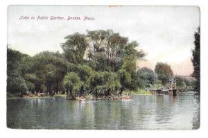 Boston MA Boating on Lake in Public Garden Vintage Postcard