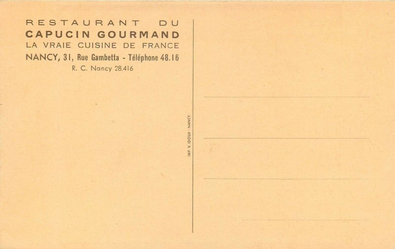 Anti-clerical monk food advertising Restaurant du Capucin Gourmand Nancy France