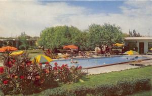 Corpus Christi Texas~Broadlawn Motor Hotel~Swimming Pool~Old Lady in Tube~1950s