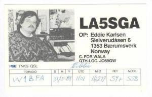 QSL radio card  BAERUMSVERK, Norway 60-80s
