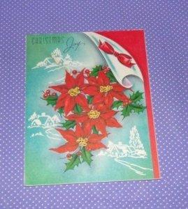 Vtg Vintage Christmas Card Greetings Poinsettia Mistletoe Snow Scene # 169