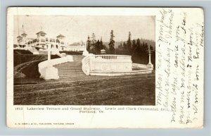 Portland OR-Oregon, Lakeview Terrace, Grand Stairway, Vintage c1905 Postcard