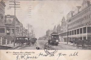 Trolley & Carriages On Virginia Avenue Atlantic City New Jersey 1905