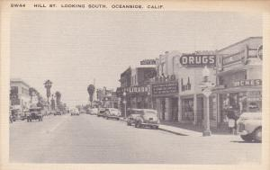 OCEANSIDE , California , 30-40s; Hill St., Looking South, Liquor & Drug Stores