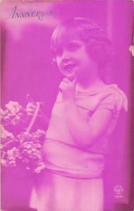Embossed Anniversaire cute girl, vintage, flowers fleurs blumen, Greetings