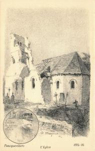 Art Postcard Foncquevillers L'Eglise France 1914-16 by A. Mayeur 90U