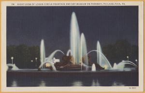 Philadelphia, PA., Night view of Logan circle Fountain and Art Museum 1935