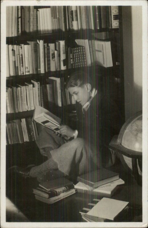 Boy in Library Sitting in Corner Reading Books 1940 Used Real Photo Postcard