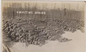 RP: Log piles waiting for Spring , PRINCE ALBERT , Saskatchewan , Canada , PU-19