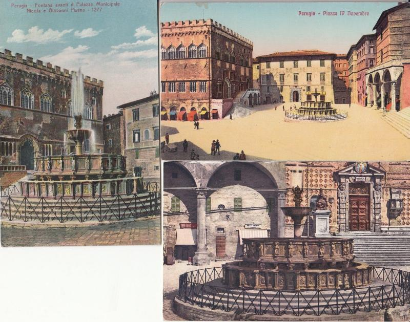 Lot 3 postcards Perrugia Italy