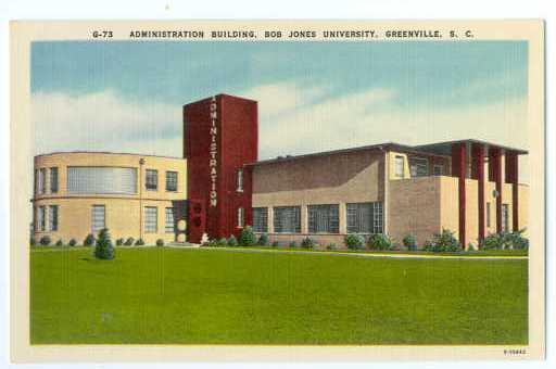 Administration Building at Bob Jones University, Greenville, South Carolina, SC,