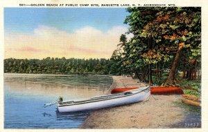 NY - Adirondacks. Raquette Lake, Boats at Golden Beach