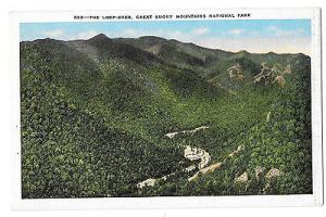 TN Loop Over Great Smoky Mountains Natl Park Vintage Aerial View kropp Postcard