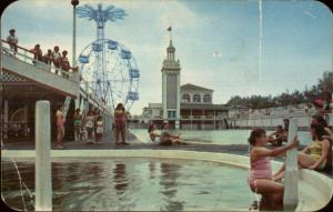 Coney Island NY Swimming Pool & Ferris Whell c1940s-50s Chrome Postcard