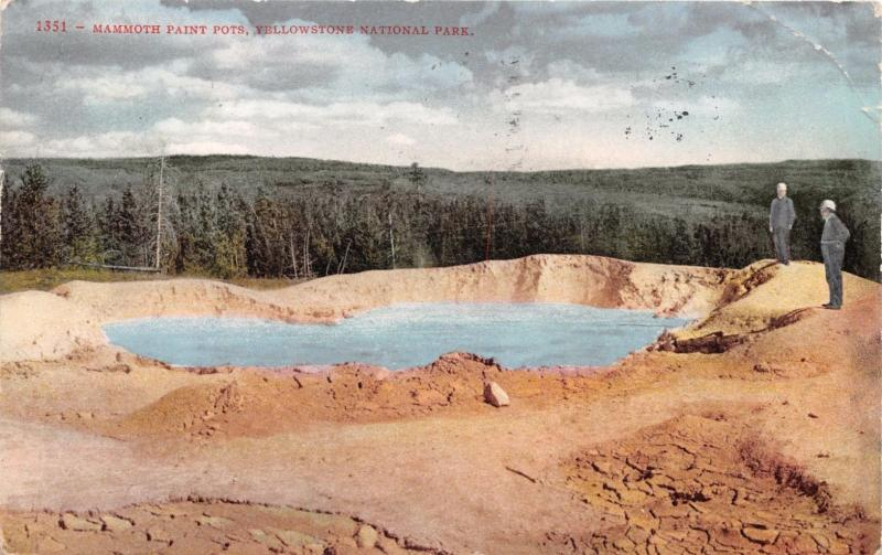 YELLOWSTONE PARK WYOMING MAMMOTH PAINT POTS POSTCARD 1910