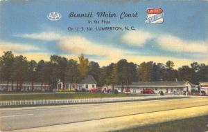 Lumberton North Carolina view of Bennett Motor Court linen antique pc ZA440375