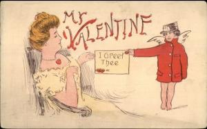 Valentine - Cupid Delivers Letter to Beautiful Woman c1910 Postcard