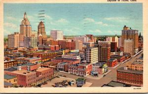 Oklahoma Tulsa Skyline Aerial View 1940 Curteich
