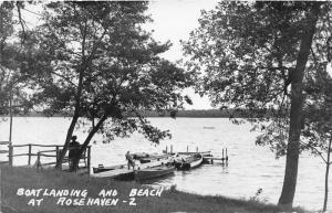 Minnesota~Rose Haven Camp Ground~Boatlanding & Beach~Boy on Dock~1956 RPPC