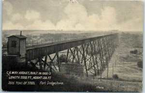 1908 Fort Dodge, Iowa Postcard C.G.W. Railway Viaduct, Built in 1902-3 Bridge