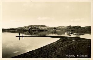 iceland, Frá Sandey í Þingvallavatni, Panorama (1950s) RPPC Postcard (2)