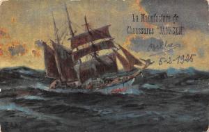 La Manufacture de Chausseures Janssen boat bateau ship, signed 1925