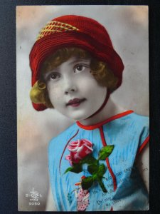 Birthday Greeting CHILD IN RED HAT & ROSE c1917 RP Postcard by S.L. of Paris