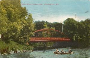 Oconomowoc WI Three Men in a Rowboat Below Red N Main St Bridge~1908 Postcard pc